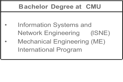 B achelor   Degree at  CMU   •   Information Systems and  Network Engineering   ( ISNE)   •   Mechanical Engineering (ME)   International Program
